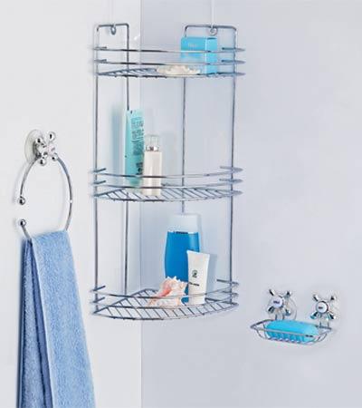 Хромированная полка и держатели для ванной - аксессуары