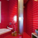 бело-красная, черно-красная ванная комната - фото дизайн