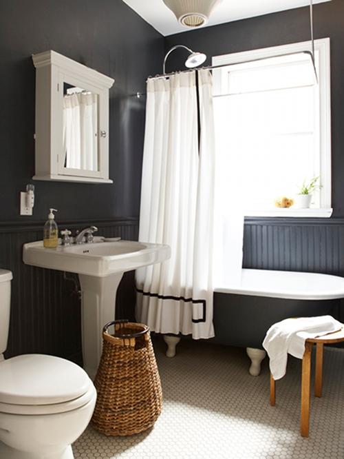 Тёмные цвета в интерьере ванной комнаты
