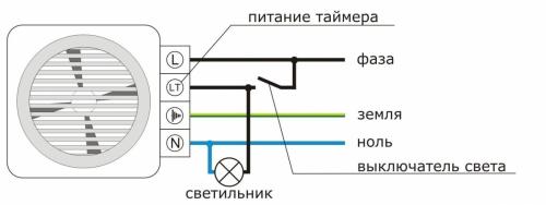 Схема подключения вытяжного  вынтилятора для ванной комнаты и туалета