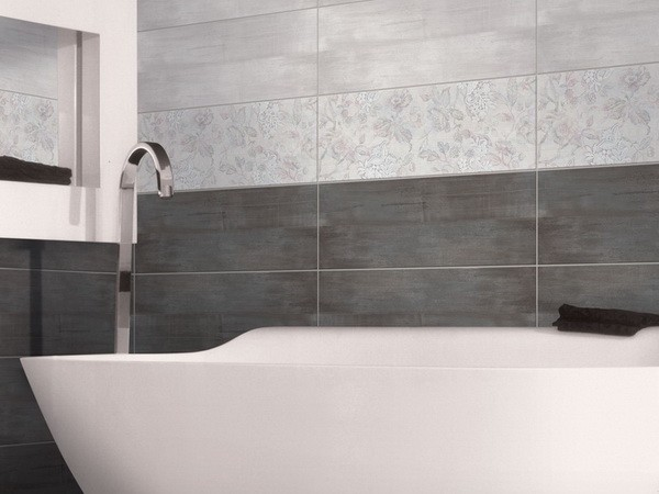Два цвета плитки в дизайне ванной комнаты