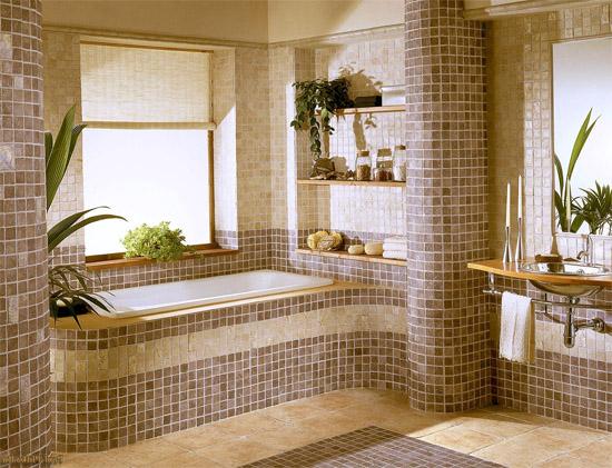 Красивое оформление мозаичной пликой ванной комнаты