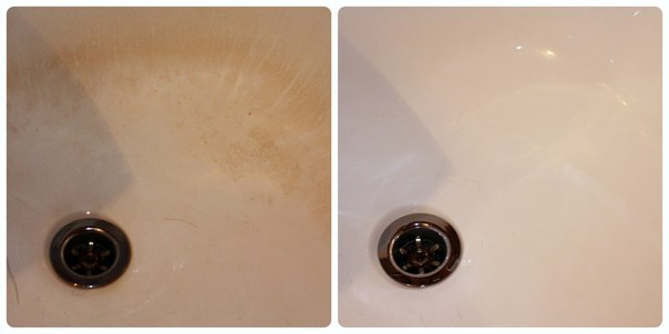 Очистка ванны от ржавчины: до и после