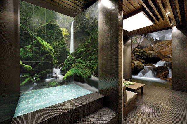 Красивое оформление ванной с помощью панно (фото плитки)