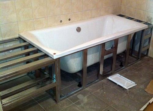 Каркас из дерева для ванны