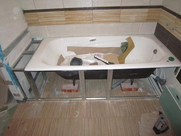 Подготовка каркаса для экрана ванны