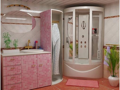Душевая кабина в оттенках розового