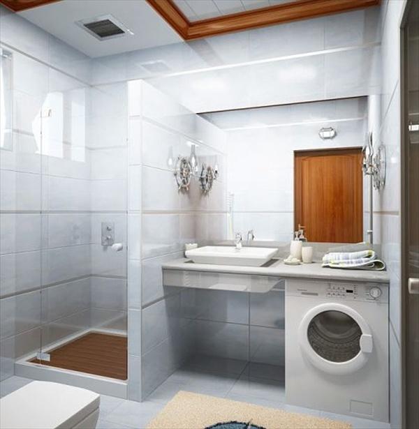 Пример удачного размещения стиральной машинки в ванной комнате