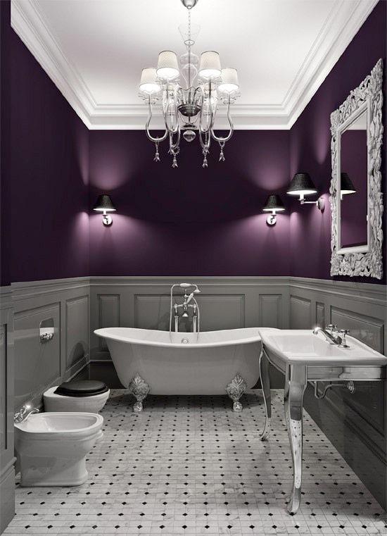 Тёмно-сиреневая ванная: выбор мужчины