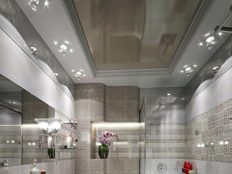 фото глянцевых натяжных потолков в ванной