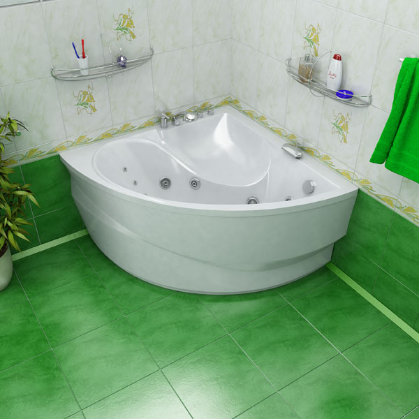 Небольная угловая ванна для ванной малых размеров