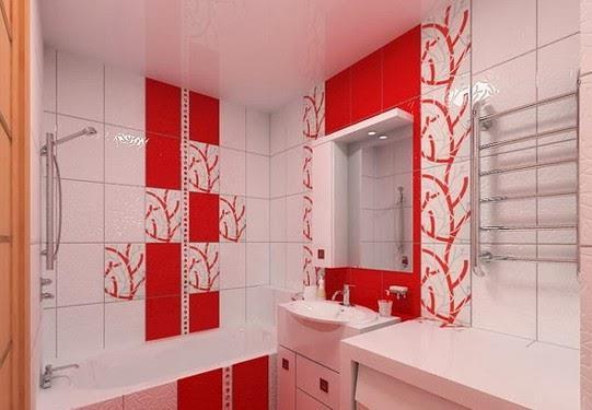 Белый в сочетании с красными кафельными плитками смотрится современно и стильно