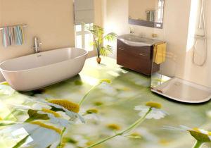 Если ванная комната небольшая по размерам, желательнее подобрать плитку неярких оттенков с небольшим изображением