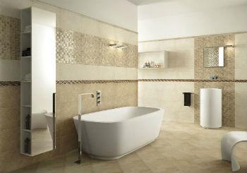 Бежевая плитка на пол – один из оптимальных вариантов для ванной