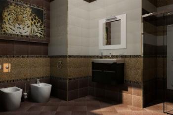 Для оформления ванной подойдет светло-бежевая напольная плитка