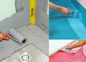 При устройстве кафельного пола в ванной нужно обязательно произвести гидроизоляционные работы