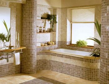 Напольная мозаика может изготавливаться из различных материалов