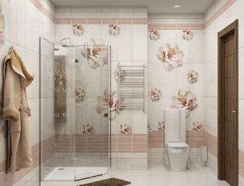 Отделку стен в ванной комнате пластиковыми панелями необязательно выполнять с помощью однотонных материалов