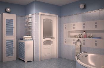 Если же выбор падает на двери, покрытые шпоном, то возникает резонный вопрос: «Можно ли шпонированные двери ставить в ванную?»