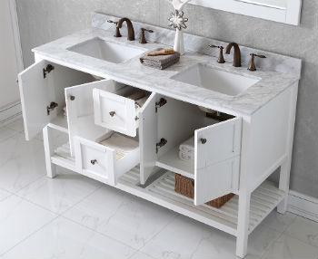 Цвет тумбы под раковину в ванной должен соответствовать остальным элементам интерьера