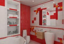 Красная плитка в дизайне ванной комнаты