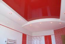 Потолок в два уровня для ванной комнаты