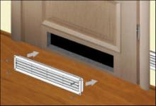 Вентиляционная решетка в двери как способ проветривания в ванной